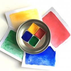 Handmade Watercolor/ Primary Set/4 Renk/Yarım Kalıp