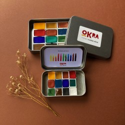 Okra Handmade Watercolors Set/12 Renk/yarım Kalıp