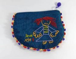 kutnu kumaş üzerine el nakışı işlemeli kızlı cüzdan16cm*12cm