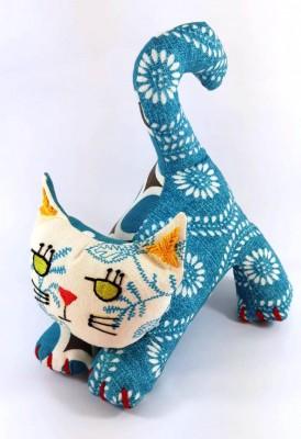 El Nakışı İşlemeli,pamuklu Mavi Kedi 25Cm*20Cm