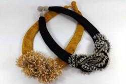 Kutnu kumaş kordon üzerine iğne oyası motifli kolye 40cm