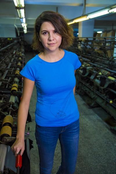 Mavi Saz - Patronsuz Tişört (Kadın)