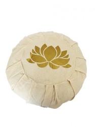Lotus Çiçeği Baskılı Bej Meditasyon Minderi