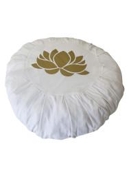 Lotus Çiçeği Baskılı Beyaz Meditasyon Minderi