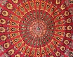 Mandala Büyük Boy Örtü -Kırmızı