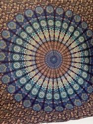 Mandala Büyük Boy Örtü -Lacivert