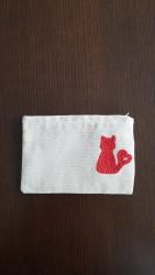 Kedi İşlemeli, Fermuarlı Cüzdan