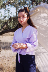 Long Sleeve Ursula Wrap Top - Lilac