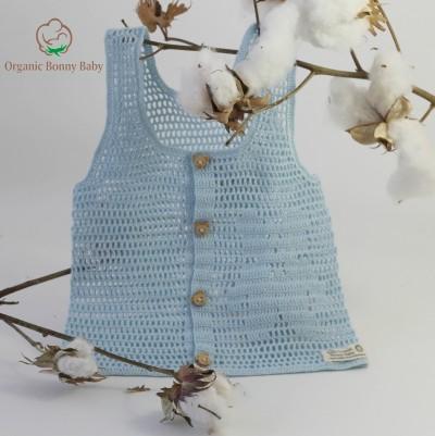 Organic Bonny Baby Mavi Ayıcıklı Yelek