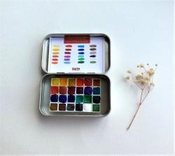 Okra Handmade Watercolors Set/24 Renk/yarım Kalıp