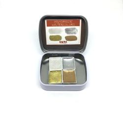 Okra Handmade Watercolor Metalik Set 4 Renk / Yarım Kalıp