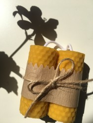 Handmade Beeswax Rolled Candle X4