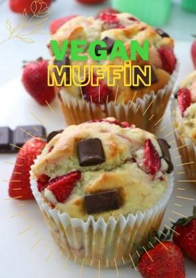 Çilekli Çikolatalı Vegan Muffin Kek (4 Adet)