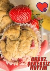 Unsuz Şekersiz Çilekli Muffin (4 Adet)