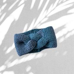 Örgü Saç Bandı - Mavi