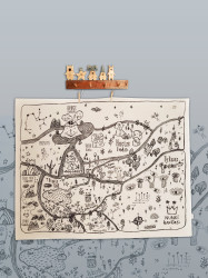 Büyük Nunki Haritası (keten Kumaş) 130x100 Cm