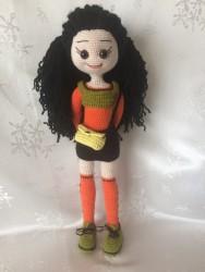 Amigurumi Kıvırcık Saçlı Kız Bebek(44cm)