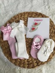 Bebek Kız Çocuk Toka Çorap Seti|kız Bebek Kurdele Çorap Set