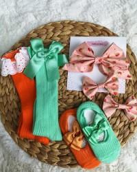 Kız Bebek Kurdele Çorap Ve Toka Seti | Bebek Aksesuar Takımı