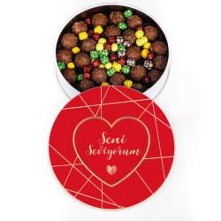 Kırmızı Kalp - Trüf Çikolata Metal Kutu