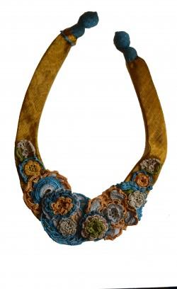Oyalı Kutnu Kolye(Mavi/Sarı)