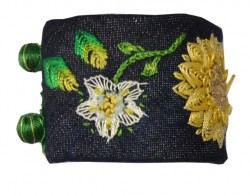 Üzerine İşlemeli Kot Bileklik (sarı/yeşil)