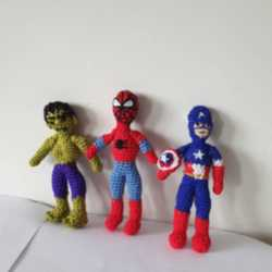 Avengers Amigurumi/ Hulk/kaptan Amerika /örümcek Adam