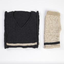 Siyah Örgü Çocuk Süveteri-Siyah Örgü Çocuk Pantalonu