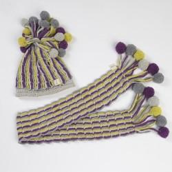 Ponponlu Şapka-Atkı (Mor, Gri, Ekru, Yeşil)